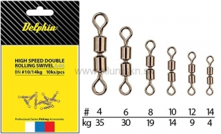 Obratlík DELPHIN Hi speed double rolling swivel A-04 BN/12